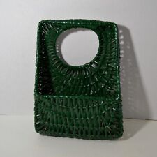 Basket Wicker Painted Green Boho Wall Flower Home Decor EUC 11x9x3.5""