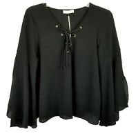 NWT Women's Top Size Medium M Blouse Tunic 3/4 Kimono Sleeve Black Casual