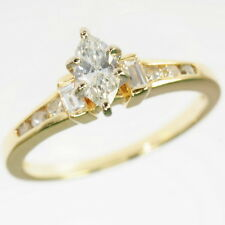 14k Yellow Gold 1/2 Cttw Marquise Emerald & Round Diamond Engagement Ring