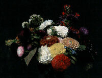 Hand painted Oil painting Latour - Dahlias still life nice flowers in oil canvas