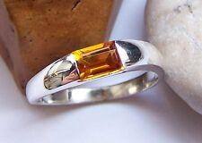 Ring  Silber 925  Weite  56   Citrin   Rechteck   Baguette