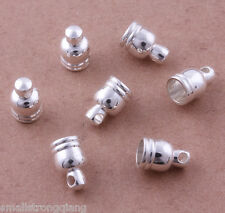50 pcs Silver Plated Barrel Bead Leather Cord ends caps Jewelry findings 9mm