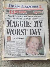 Daily Express Newspaper 28th October 1989 Margaret Thatcher  Nigel Lawson