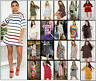 Womens Stripe Printed Baggy Oversized Boyfriend T-Shirt Long Top Tunic Cas Dress