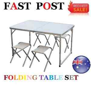 Portable Aluminium Folding Foldable Table Set Camping Outdoor - 4 Stools Chairs