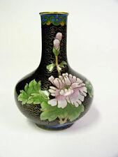 """Vintage Lavender Flowers 4"""" Cloisonne Chinese Blue & Black Brass Enamel Vase"""