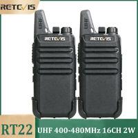 Retevis RT22 UHF Long range two way radios 2W Rechargeable Walkie Talkies(2PCS)