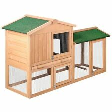 Rabbit Hutch Chicken Coop Cage Guinea Pig Ferret House with 2 Storeys Run mesh