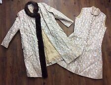 Vintage British Crown Colony Hong Kong Brocade Genuine Fur Trim Coat Dress 14 16