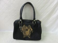 TNA Aritzia Royal Crown Monogram Bag Duffle Purse Tote Small Black Gold
