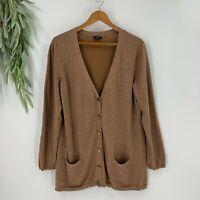 Talbots Womens Long Cardigan Sweater Size XL Brown Metallic Pocket Front Knit