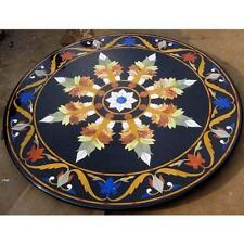 "36"" Black Dining Table With Marble Top Grand Pietradura Mosaic Inlay Home Deco"