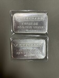 """Lot of 2 Engelhard .999 Silver 1 Troy oz bars stamped """"PD"""" consecutive numbers"""