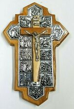 14 Stations of the Cross Crucifix Bethlehem Olive Wood Handcarved in Jerusalem