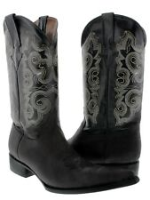 Mens Smooth Leather Black Western Wear Cowboy Boots Pointed XXX Toe