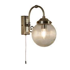 Searchlight Belvue 1 Light Bathroom Wall Light Clear Globe Shade Antique Brass