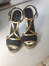 KURT GEIGER LADIES  SUMMER SANDALS BLUE SUEDE GOLD TRIMS SIZE 38