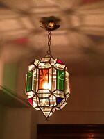 VTG Geometric Hanging Swag Pendant Glass Lamp Light Lantern Arabic Spanish MCM