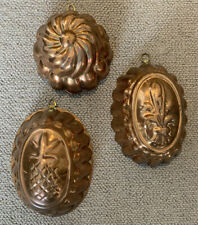 More details for decorate vintage copper jelly moulds