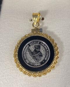 1991 The Australian Koala 1/20 oz .9995 Fine Platinum Coin set in 14K Bezel
