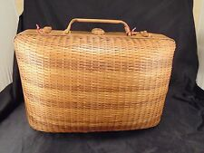Picnic basket hamper wicker handles sewing knitting storage Shanghai vintage art