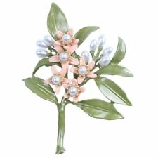 Design Vintage Brooch Jewelry Orange Flower Tree Brooches Natural Pearls I8