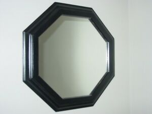 """Handcrafted Wood Framed Octagon Wall Mirror Painted Black 16 3/4"""" w/ frame NEW"""