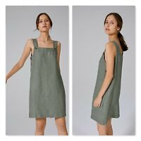 COUNTRY ROAD Womens Size 10 Green Twill Linen Pinafore Dress