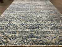 9x12 MODERN HANDMADE WOOL RUG HAND-KNOTTED blue gray hand-woven transitional rug