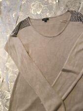 Express women's  sweater beige Round Neck With Silver Studs On Shoulder sizeS/p