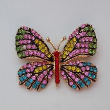 Brosche Anstecknadel 4,5 cm Schmetterling Strass rosa grün pink blau NEU