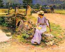 Marie at the Little Bridge by Theodore Robinson - Art Woman Sits 8x10 Print 1025