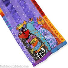 Laurel Burch Cat Dog Bird Fish Dream Believers Silk Neck SCARF Wrap NEW Retired