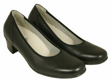 Block Patternless Leather Court Heels for Women