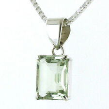 Rectangular Faceted Green Amethyst Pendant Claw Set in Sterling Silver