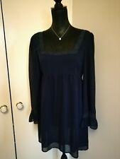 Topshop Navy Square Neck Short Dress Size 10 Floaty Lace Smart VGC