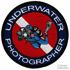 UNDERWATER PHOTOGRAPHER IRON-ON PATCH SCUBA DIVING EMBROIDERED PHOTOGRAPHY LOGO