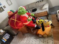 Rare Gemmy 7ft 7' Air Blown Inflatable Christmas Grinch Max Sleigh Box Green Guy