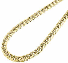 """Mens 1/20th Bonded 10K Yellow Gold 6mm Hollow Wheat Franco Chain 26"""" Necklace"""