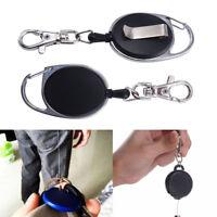 Retractable Reel Key Chain Pull Key ID Card Badge Tag Clip Holder Buckle Keyring