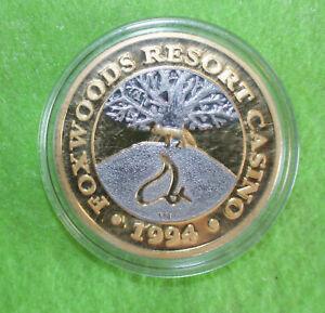 1994 FOXWOODS RESORT CASINO .999 PURE SILVER GOLD PLATE $40 DOLLAR TOKEN, 46.5gr