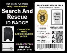 Search & Rescue ID Badge Card (SAR) Custom w your PHOTO & INFO - PVC w Hologram