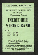 1972 Incredible String Band Concert Ticket Stub Brighton Uk Earthspan