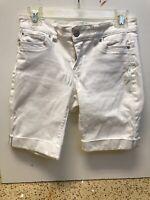 White House Black Market WHBM Womens Shorts Size 2 Bermuda White Stretch