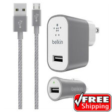 NEW Belkin MIXIT Car + Home Charger Kit MICRO USB Cable SILVER Samsung 12W GREY
