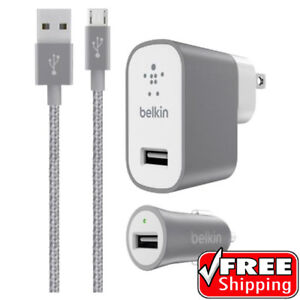 Belkin MIXIT Car + Home Charger Kit MICRO USB Cable SILVER Samsung 12W GREY
