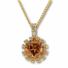 "Champagne Solitaire Pendant 18"" Womens Necklace 18ct Yellow Gold Filled N177"