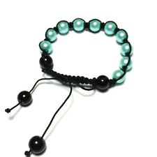 Blue Shamballa Bracelet Glass Pearl Bead Small Size Hippy Ethnic Jewellery