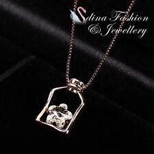 18K Rose Gold GP Made With Swarovski Crystal Exquisite Flower Bottle Necklace