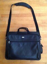 "TARGUS Black Leather Laptop Case Briefcase Messenger Bag Topload 15""x18.5"" 3.5'"